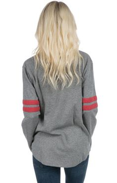 Dark Heather Grey / Red - Long Sleeve Baseball Jersey Back