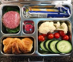 Her @planetbox lunch for Tuesday is herb-rubbed dry salami, cheese stick, @annieshomegrown yogurt, cauliflower, grape tomatoes, cucumbers, a mini croissant, and a @torieandhoward organic fruit chew.   #lunch #bento #bentobox #organic #organicfood #healthy #healthyfood #healthykids #healthylife #healthyeating #Healthyfamily #instafood #instagood #eatyourvegg...