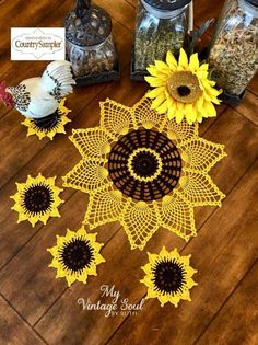 Sunflower Doily and Coasters - Rustic Doilies - Flower Doilies - Pineapple Doily - Coffee Table Doily - Wedding Gift - Crochet Lace Doily Crochet Doily Patterns, Crochet Doilies, Crochet Flowers, Crochet Lace, Crochet Sunflower Crochet Sunflower, Sunflower Pattern, Pineapple Crochet, Lace Doilies, Crochet Doilies, Crochet Lace, Doily Wedding, Crochet Wedding, Crochet Flower Patterns