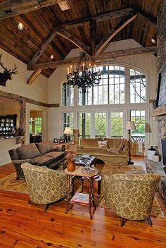 Vaulted family room of Architectural Designs House Plan New expanded master bedroom a great bonus to the plan Mountain House Plans, Mountain Living, Architectural Design House Plans, Luxury House Plans, Family Room Design, Wood Ceilings, Home And Living, Living Room, Great Rooms