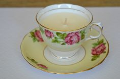 Upcycled Teacup Candle - Vanilla Scent - Colclough English-Made Teacup by FinerySoaps on Etsy