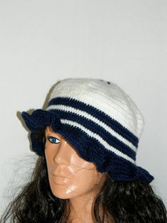 Blue Crochet Winter Hat for Women sailor hat Adult by specials4you, $25.00