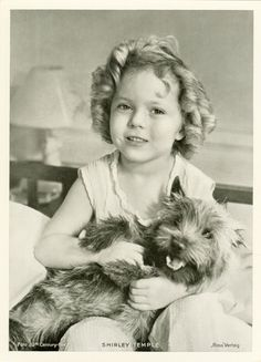 "Shirley Temple ~ Bright Eyes Shirley with Terry, a ""Cairn Terrier"", who played 'Rags' in 'Bright Eyes'. Terry is more famously know for playing ""Toto"" in ""The Wizard Of Oz"". Cairns, Classic Hollywood, Old Hollywood, Hollywood Actresses, Cairn Terriers, Vintage Dog, Bright Eyes, Wizard Of Oz, Pets"