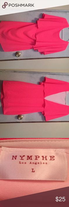 Hot pink dress NEVER been worn knee length v-backed hot pink dress. Was given to me n and it just ain't my style lol NYMPHE Dresses Midi