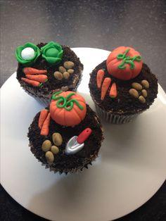 Garden vegetable chocolate cupcakes with sugarpaste/fondant pumpkins, potatoes, carrots, cabbage & cauliflower, plus a trowel!