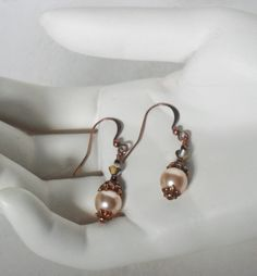 Jasmine.  Victorian Inspired Dangle Earrings.  Tea Party. Dickens Ball. Delicate Duchess. Antique Copper Finish Earrings.