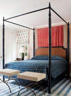 California Eclectic Gets a Traditional Twist// canopy bed, striped rug, tufted stools