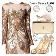 """NYE Dance Party: 60 Second Style"" by beautifully-eclectic ❤ liked on Polyvore featuring Zuhair Murad, Christian Louboutin, Alexander McQueen, Sally Agarwal, nyestyle and 60secondstyle"