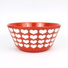 Waechtersbach Germany Red and White Hearts Large Ceramic Bowl