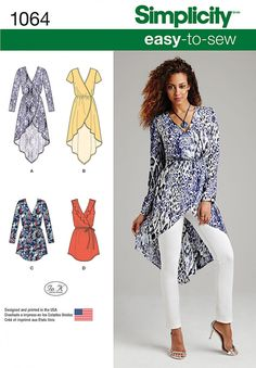 #Simplicity 1064 features easy to sew tunics that are great for summer #dressmaking