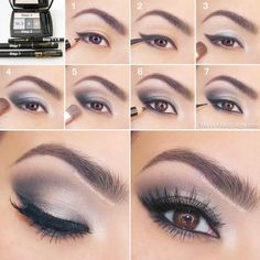 Instructions eye make-up in dark gray and purple . Instructions eye make-up in dark gray and purple tones Smokey Eye Makeup, Makeup For Brown Eyes, Skin Makeup, Smoky Eye, Smokey Eyeshadow, Makeup Contouring, Eyeshadow Makeup, Mac Makeup, Eyeshadow Guide