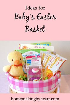 Babys first easter basket ideas for a newborn baby pinterest ideas for babys easter basket from homemaking by heart negle Image collections