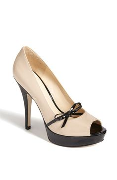 Nude & black peep toe