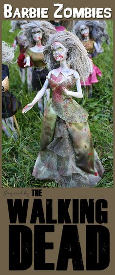 Barbie Zombies: Inspired by The Walking Dead - by Amanda Formaro of Crafts by Amanda (fun, smart DIY Halloween decor! Halloween Tags, Diy Halloween Nails, Theme Halloween, Halloween Doll, Holidays Halloween, Halloween Crafts, Holiday Crafts, Holiday Fun, Happy Halloween