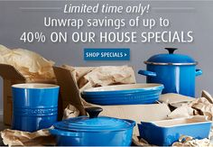 Save up to 40% on selected Le Creuset kitchen and dining favorites.