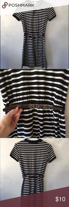 Striped Dress Cute Striped Dress with a brown skinny braided belt, super comfy, Worn a couple times but still in great condition. Forever 21 Dresses Mini