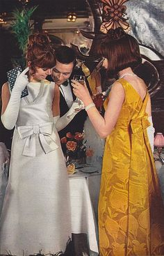 "1965 - White dress by Catala and yellow one by Montheral | This could be ""Mad Men"""