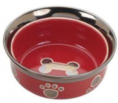 Ethical Ritz Copper Rim Dog Dish Red 7