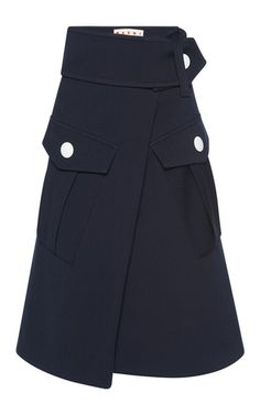 Noting oversized waistband - love it. Asymetrical look has great whimsy too. ~Wool Cargo Skirt by MARNI Now Available on Moda Operandi Jean Moda, Moda Chic, Fashion Details, Fashion Design, Work Looks, Skirts With Pockets, Contemporary Fashion, Marni, Fashion Dresses