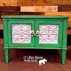 Green Cabinet Tables  Old Irish Hillside Green by RedRhinoRevamp, $85.00