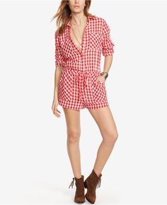 9e1208f66600 Denim   Supply Ralph Lauren Checked Romper Romper Pants