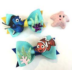 Dory & Nemo Bow Set, nemo, nemo inspired bow, finding dory, disney bow, birthday bow, blue baby bow, kids hair accessories