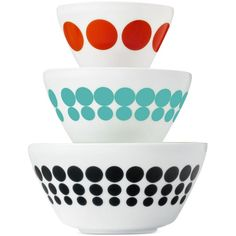 Vintage Charm inspired by Pyrex Spotted Too 6-Pc. Mixing Bowl Set, ($35) ❤ liked on Polyvore featuring home, kitchen & dining, kitchen gadgets & tools, no color, pyrex mixing bowl, salad mixing bowl, pyrex and pyrex mixing bowls