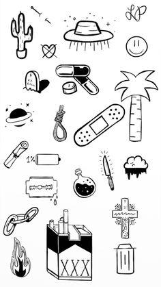 Mini Drawings, Small Drawings, Easy Drawings, Doodle Drawings, Tattoo Design Drawings, Tattoo Sketches, Tattoo Designs, Kritzelei Tattoo, Doodle Tattoo