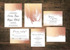 Rose Gold Wedding Invitation Suite Set of 25  by TheWoolberryPress