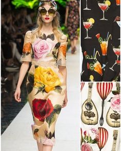 Spring/Summer 2017 Milan Fashion Week - Print Highlight: Dolce & Gabbana. Dolce & Gabbana's Spring/Summer 2017 Collection played homage to Italian food and ornate heritage. All mashed together with a touch of humour and a splash of beauty. Print highlights included, summer cocktail prints, allover pasta pattern and large scale summer garden florals. Check out the Patternbank blog for my print updates!#fashionweek #pattern #milan #rtw #ss17