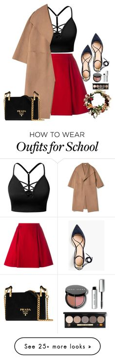 """""""Back to school Chic"""" by abbes03 on Polyvore featuring J.TOMSON, RED Valentino, Bobbi Brown Cosmetics, J.Crew and Prada"""
