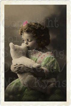 Teddys Kiss, Beautiful Edwardian Girl and her Teddy Bear, Vintage Photo, digital download