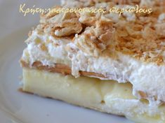 No bake mille-feuille Greek Desserts, Greek Recipes, Cream Crackers, Sweet Bakery, Food To Make, Dairy, Pie, Cheese, Baking