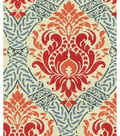 Waverly Dressed Up Damask Poppy - Discount Designer Fabric . Damask Decor, Waverly Fabric, Decoupage, Drapery Fabric, Wall Fabric, Curtain Material, Fabric Shop, Diy Pillows, Accent Pillows