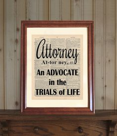 Attorney Dictionary Print, Law Office Decor, Lawyer Quote, Lawyer Print…
