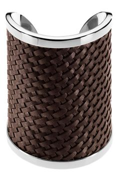 """safari glam"" woven leather and steel cuff"