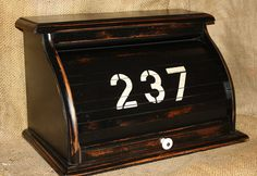 Vintage Roll Top Bread Box  Painted  Black  Storage by CrownWillow, $54.00