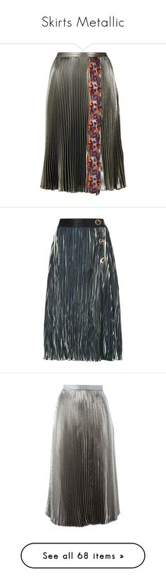 """Skirts Metallic"" by shamrockclover ❤ liked on Polyvore featuring skirts, bottoms, metallic, floral midi skirts, metallic pleated skirt, midi skirts, metallic skirt, pleated skirt, black and pleated midi skirt"