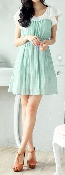mint and white dress