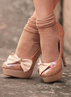 Pink glitter shoes with a bow...so pretty! love the heels - but please NEVER WEAR SOCKS AND HEELS!