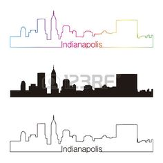 Indianapolis skyline linear style with rainbow in editable vector file Stock Vector Skyline Painting, Skyline Art, New Tattoos, I Tattoo, Tatoos, Indianapolis Skyline, Skyline Tattoo, Paper Cutting Patterns, Skyline Silhouette