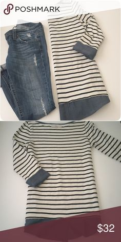 Loft • Layered • Top Adorable layered top with a denim look.  🔶Brand • Loft by Ann Taylor.  🔶Size • Small.  🔶Fabric • 100% cotton.  🔶Condition • Bought from another posher NWT's, loved it but just never really wore. Maybe worn twice, in beautiful new condition.  🔶Measurements upon request. Loft Tops Blouses