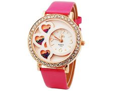 Dfa Round Dial Analog Watch with Crystals & Beads Decoration (Rose)$8.99