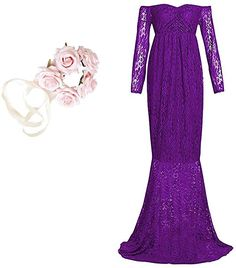 Women's Off Shoulder Long Sleeve Lace Maternity Gown Maxi Photography Dress (S, Purple) at Amazon Women's Clothing store: Thing 1, Maternity Gowns, Maternity Photography, Shoulder Sleeve, Dress Brands, Fashion Brands, Amazon, Formal Dresses, Purple