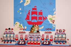 Awesome dessert table at a Pirate party!  See more party ideas at CatchMyParty.com!  #partyideas #pirate