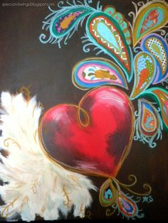 Specs and Wings: June 2011 Heart Painting, Diy Painting, Love Wallpaper, Pattern Wallpaper, Diy Canvas, Canvas Art, Canvas Ideas, Small Canvas, I Love Heart