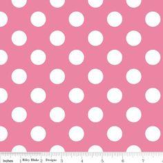 Pink and White Medium Polka Dot Cotton For Riley Blake, 1 Yard. $8.25, via Etsy.