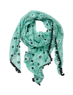 Oversize lace pom scarf Mint – MANIA Copenhagen