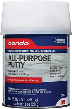Bondo All-Purpose Putty ~ is a homeowner's best friend. It can fill and repair cracks and dents in drywall, metal, concrete, masonry, and wood surfaces. Fully paintable and sustainable. Excellent option to repair cracks in concrete surfaces; on painted exterior wood, metal gutters, knotholes in wood, loose tile, wood shingles, painted window sills, doors and door frames, brick, stone, and drywall. Bondo can be sanded and painted within 15 minutes of application, making it a quick fix! Painted Cupboards, Kitchen Cupboards, Cabinets, Hollow Core Doors, Drywall Repair, Wood Shingles, Brick And Stone, Interior And Exterior, Concrete