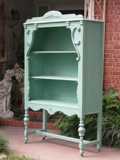 ~*OMG! FABULOUS SHABBY 1900s CABINET~CHINA OR BOOKCASE~CHIC AQUA~LAYAWAY AVAIL*~